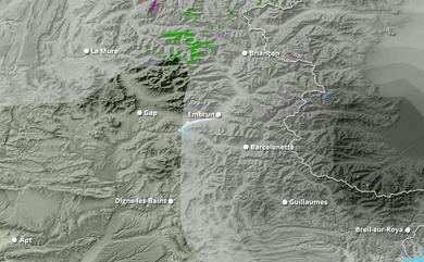 Cumul neige total 1 à 10 jours Alpes du Sud