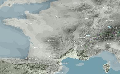 Cumul neige total 1 à 10 jours France, Ouest Europe