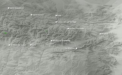 Prévisions cumul de chutes de neige Pyrénées Est jusqu'à 10 jours