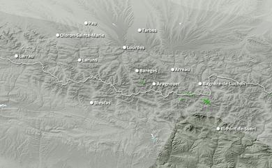 Cumul neige total 1 à 10 jours Pyrénées Ouest
