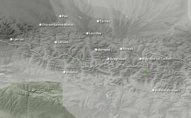 Prévisions cumul de chutes de neige Pyrénées Ouest jusqu'à 10 jours