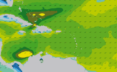 Prévisions de houle 11 à 16 jours Mer des Caraïbes WAM 54km