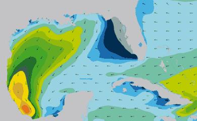Prévisions de houle 1 à 10 jours Golfe du Mexique, Floride WAM 54km