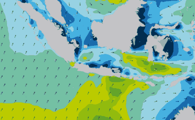 Prévisions de houle 11 à 16 jours Indonésie WAM 54km
