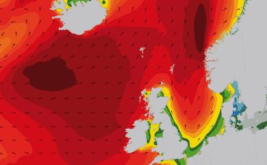 Prévisions de houle 1 à 10 jours Islande, Mer du Nord, Norvège WAM 54km