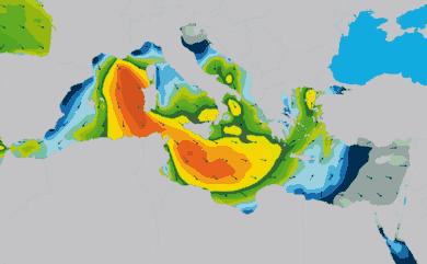 Prévisions de houle 11 à 16 jours Méditerranée WAM 54km