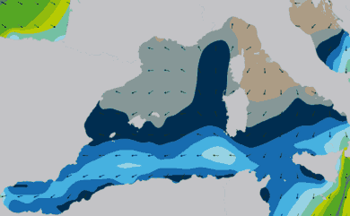 Prévisions de houle 11 à 16 jours Méditerranée Ouest WAM 54km