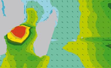 Prévisions de houle 11 à 16 jours Reunion, Madagascar, Maurice WAM 54km