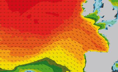 Prévisions de houle 1 à 8 jours Atlantique Ouest Europe WW3 54km