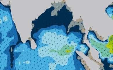 Prévisions de houle 1 à 8 jours Inde, Sri Lanka WW3 54km