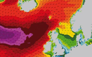 Prévisions de houle 1 à 8 jours Islande, Mer du Nord, Norvège WW3 54km