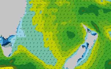 Prévisions de houle 1 à 8 jours Mer de Tasman WW3 54km