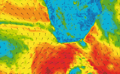 Prévisions de vent 1 à 10 jours Afrique du Sud GFS 27km