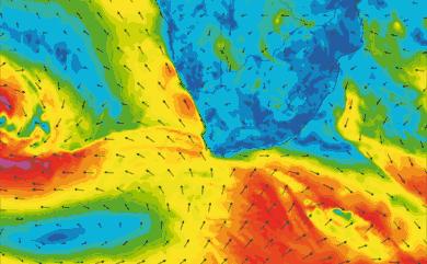 Prévisions de vent 11 à 16 jours Afrique du Sud GFS 27km