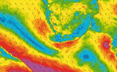 Prévisions de vent 1 à 8 jours Afrique du Sud GFS 27km