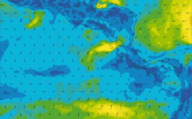 Prévisions de vent 1 à 10 jours Amérique Centrale, Pacifique GFS 27km