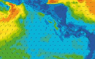 Prévisions de vent 11 à 16 jours Amérique Centrale, Pacifique GFS 27km