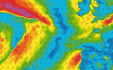Prévisions de vent 1 à 8 jours Atlantique Ouest Europe GFS 27km