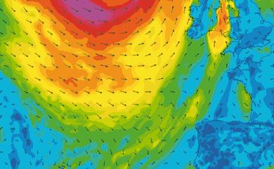 Prévisions de vent 1 à 10 jours Atlantique Ouest Europe GFS 27km