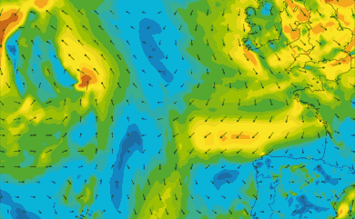 Prévisions de vent 11 à 16 jours Atlantique Ouest Europe GFS 27km
