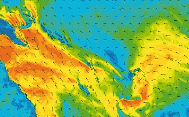 Prévisions de vent 1 à 10 jours Mer de Corail, Pacifique GFS 27km