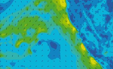 Prévisions de vent 1 à 10 jours Californie GFS 27km