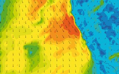 Prévisions de vent 1 à 8 jours Californie GFS 27km