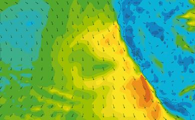 Prévisions de vent 11 à 16 jours Californie GFS 27km