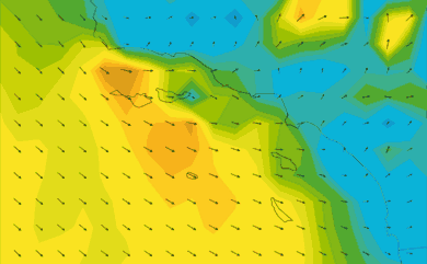 Prévisions de vent 1 à 8 jours Californie du Sud GFS 27km