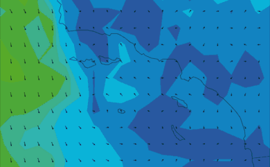Prévisions de vent 11 à 16 jours Californie du Sud GFS 27km