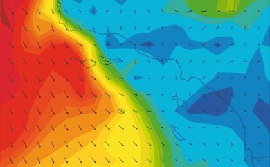 Prévisions de vent 1 à 10 jours Californie du Sud GFS 27km