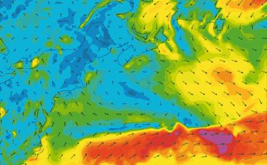 Prévisions de vent 1 à 8 jours Cap Cod, New York GFS 27km