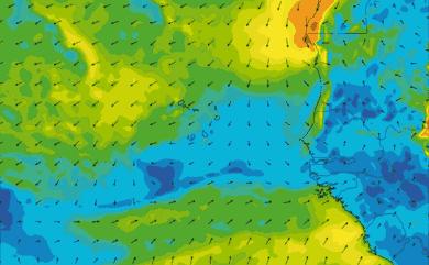 Prévisions de vent 11 à 16 jours Cap-Vert, Sénégal GFS 27km
