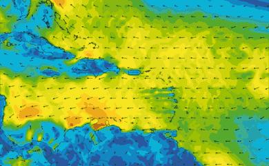 Prévisions de vent 11 à 16 jours Mer des Caraïbes GFS 27km
