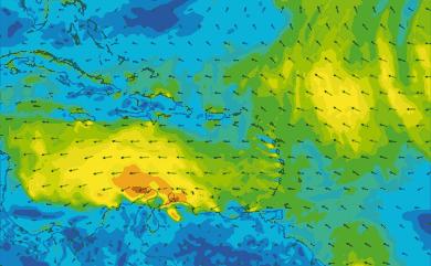 Prévisions de vent 1 à 8 jours Mer des Caraïbes GFS 27km