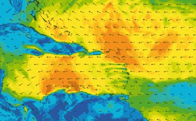 Prévisions de vent 1 à 10 jours Mer des Caraïbes GFS 27km