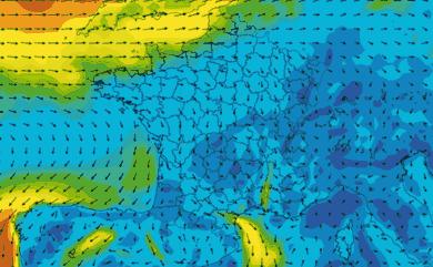 Prévisions de vent 1 à 10 jours France GFS 27km