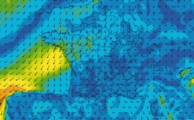 Prévisions de vent 11 à 16 jours France GFS 27km