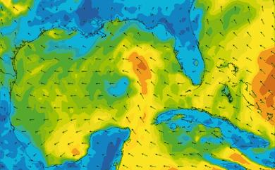 Prévisions de vent 1 à 10 jours Golfe du Mexique, Floride GFS 27km