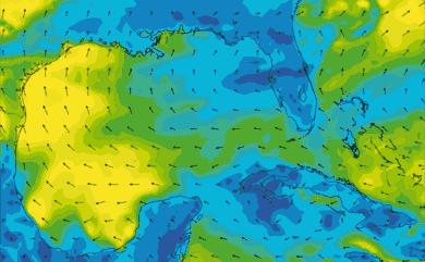 Prévisions de vent 1 à 8 jours Golfe du Mexique, Floride GFS 27km