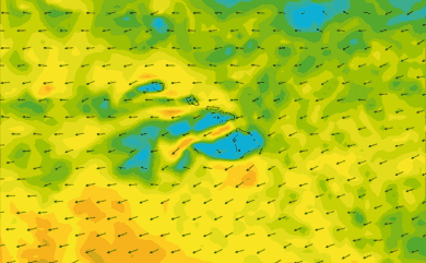 Prévisions de vent 11 à 16 jours Hawaï GFS 27km