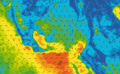 Prévisions de vent 1 à 8 jours Inde, Sri Lanka GFS 27km