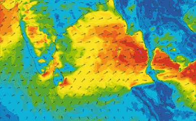 Prévisions de vent 11 à 16 jours Inde, Sri Lanka GFS 27km