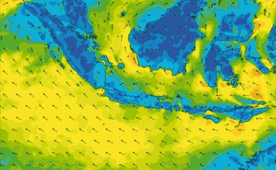 Prévisions de vent 1 à 8 jours Indonésie GFS 27km