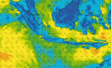 Prévisions de vent 1 à 10 jours Indonésie GFS 27km