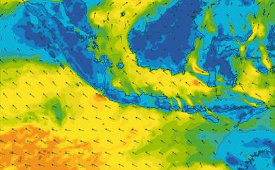 Prévisions de vent 11 à 16 jours Indonésie GFS 27km