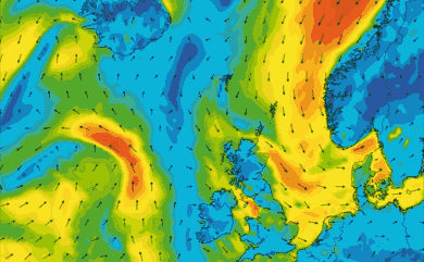 Prévisions de vent 1 à 8 jours Islande, Mer du Nord, Norvège GFS 27km