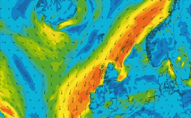 Prévisions de vent 1 à 10 jours Islande, Mer du Nord, Norvège GFS 27km