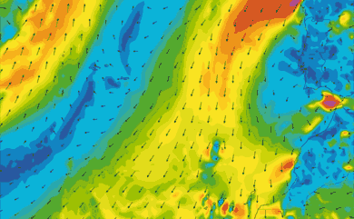 Prévisions de vent 11 à 16 jours Maroc, Portugal, Canaries GFS 27km