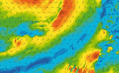 Prévisions de vent 1 à 10 jours Maroc, Portugal, Canaries GFS 27km